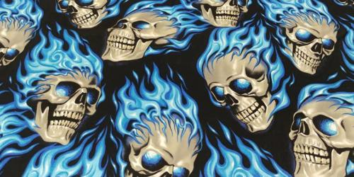 Blue Flaming Skulls